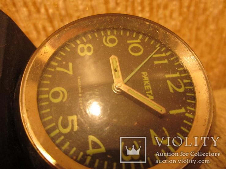 Часы будильник Ракета черный циферблат, фото №13