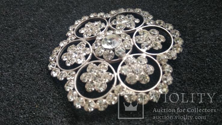 Брошь 875пр. серебро,камни звезда новая, фото №2
