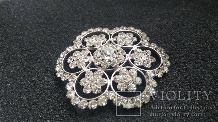 Брошь 875пр. серебро,камни звезда новая, фото №4