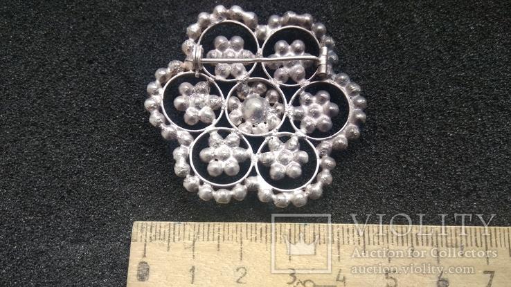 Брошь 875пр. серебро,камни звезда новая, фото №6