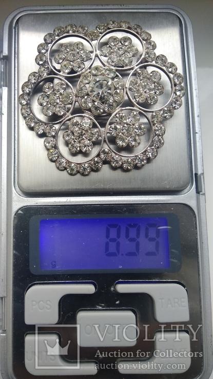 Брошь 875пр. серебро,камни звезда новая, фото №7
