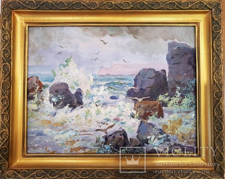 """""""Берег моря """", худ. Жуган , 1975 г., фото №2"""