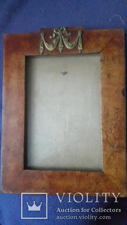 Старинная рама из карельской березы с бронзовой накладкой, фото №3