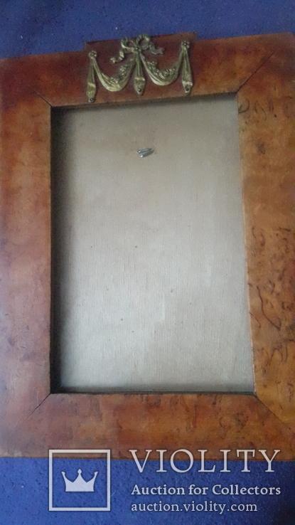 Старинная рама из карельской березы с бронзовой накладкой, фото №5