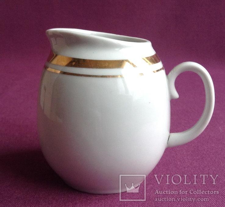 Сливочник / молочник Золотая шейка. Фарфор, позолота., фото №2