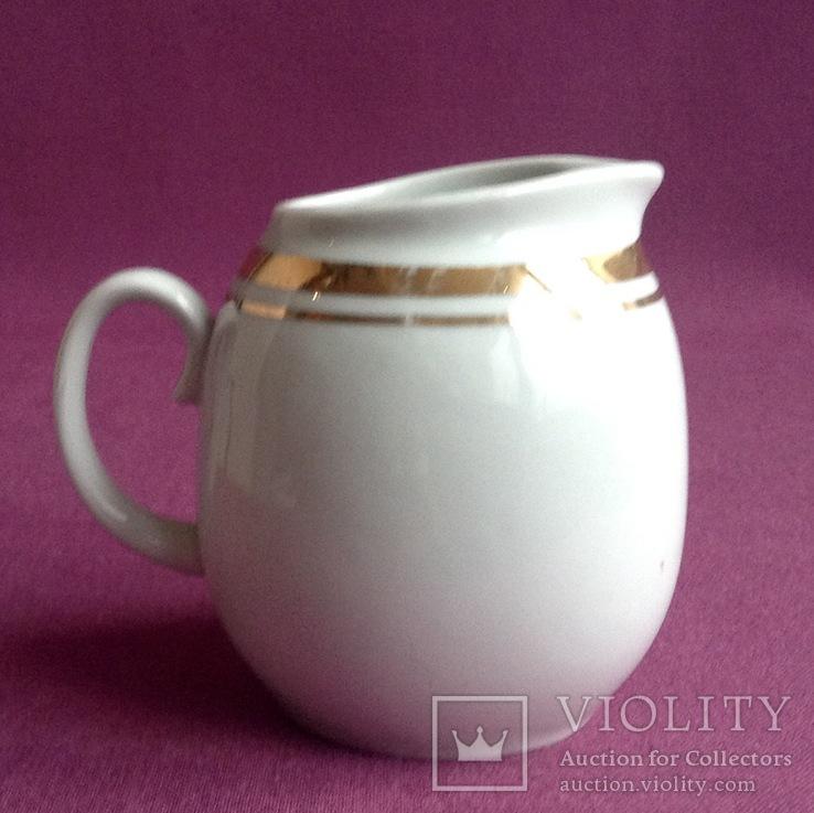 Сливочник / молочник Золотая шейка. Фарфор, позолота., фото №3