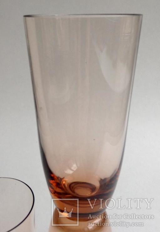 Стаканы Персиковые. 3 шт. Цветное стекло., фото №4