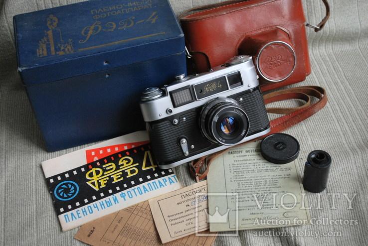 Фотоаппарат ФЭД-4, с И-61, Юбилейный выпуск 50 лет Октября, упаковка, инструкция.