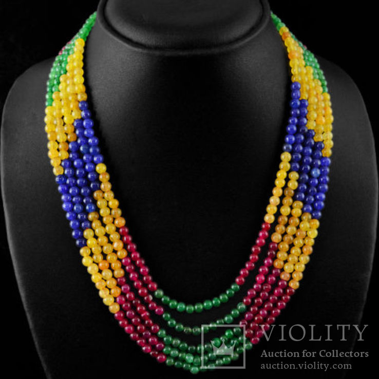 Ожерелье из натуральны рубинов, изумрудов и цветных сапфиров 500 карат, фото №2