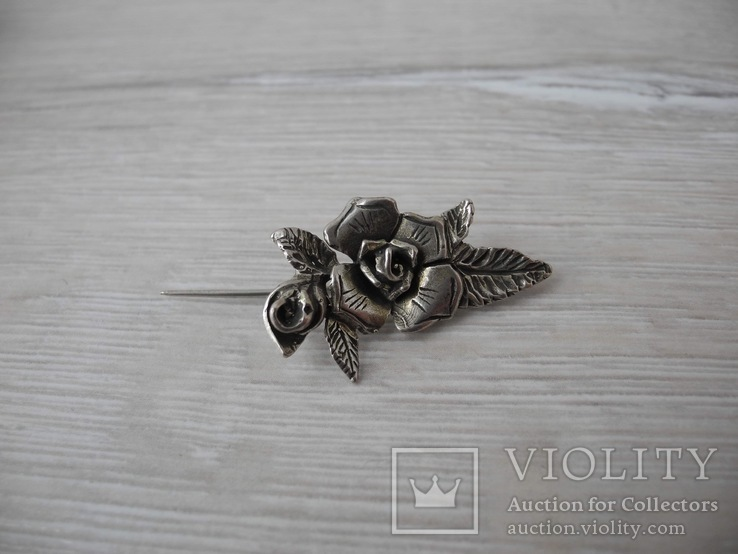 Брош Старинная Роза ( серебро 800пр), фото №2