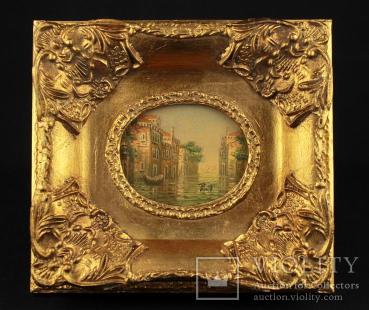 Венеция. Масло на дереве в роскошной раме. Подпись автора. 200х180 мм.