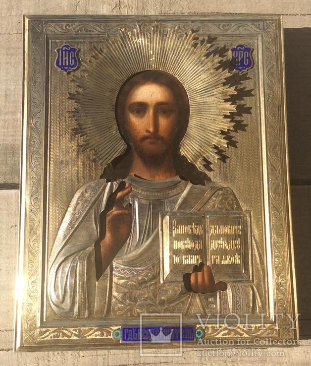 Икона Спаситель 84,эмаль, горящая позолота
