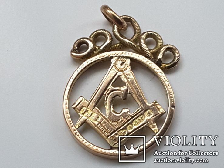 Масонский кулон. Masonic. Золото. (Масонская подвеска, масон, масонский амулет). 4