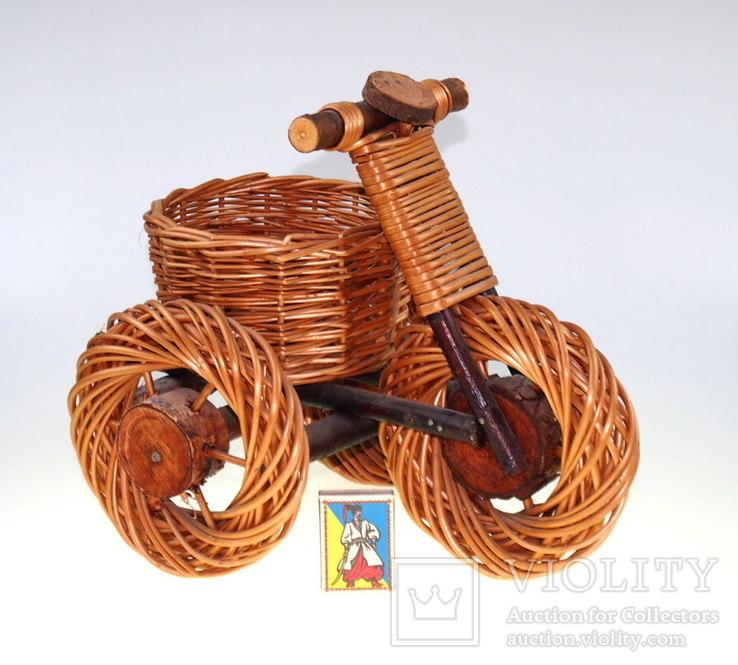 Подставка для цветов плетёная. Велосипед, фото №6