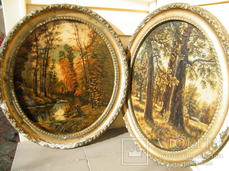 Картины маслом на дереве.