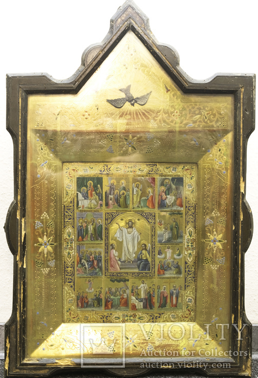 Икона с сюжетами православных праздников в киоте