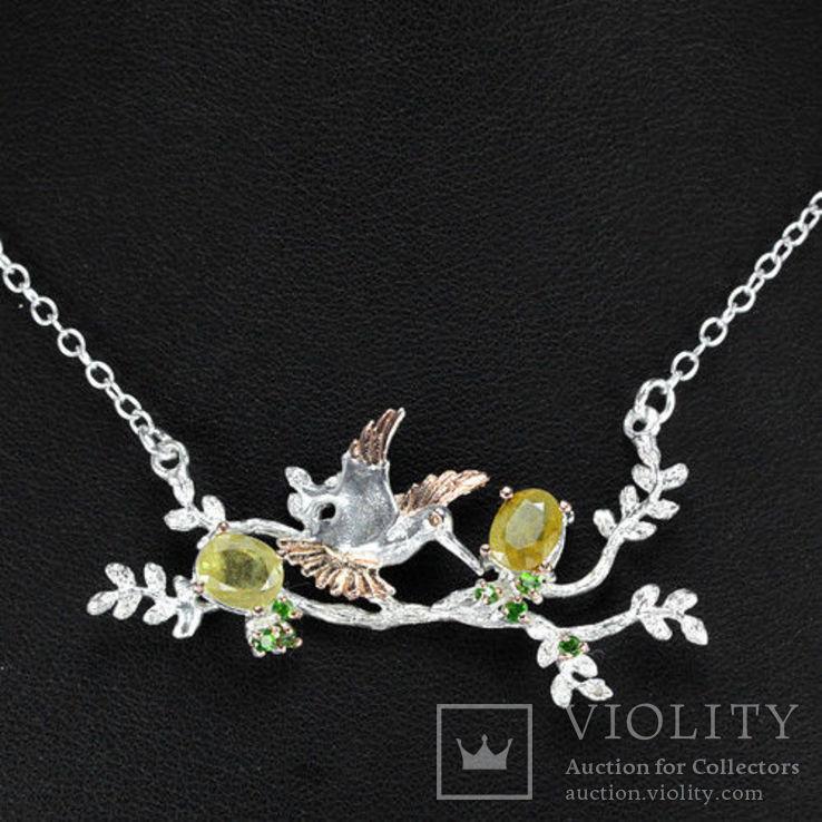 Ожерелье с натуральными желтыми сапфирами и хромдиопсидами, фото №3