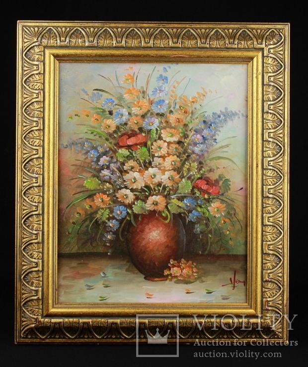 Цветочный натюрморт. Масло. Подпись автора. 390х330 мм.  Европа.