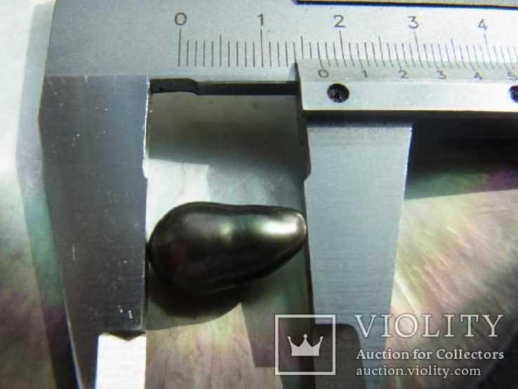 Натуральный морской чёрный жемчуг Таити 14х6 мм, фото №3