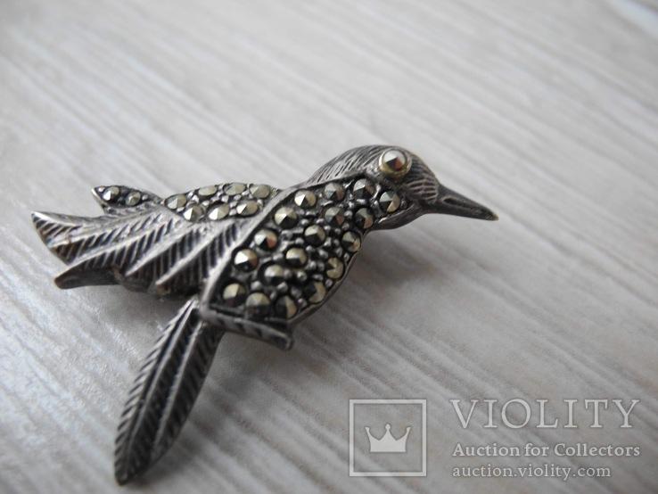Брош Птичка ( серебро 925 пр), фото №3