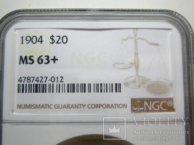 США 20 долларов 1904 г. NGC MS63+, фото №6