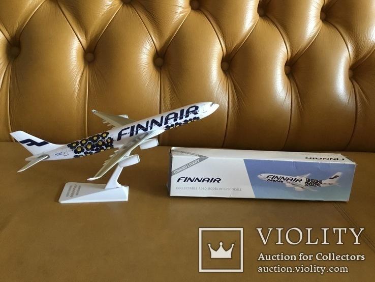 Модель самолёта Finnair A340, 1:250, фото №3