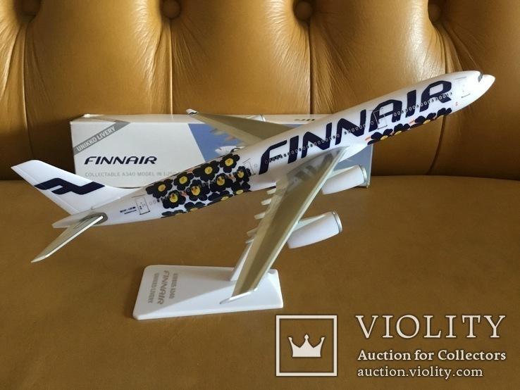 Модель самолёта Finnair A340, 1:250, фото №6