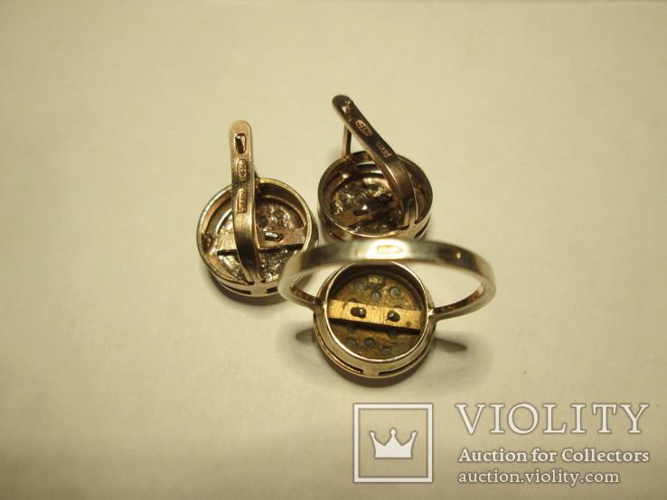 Набор сережки и кольцо 925 пробы с фианитами, фото №3