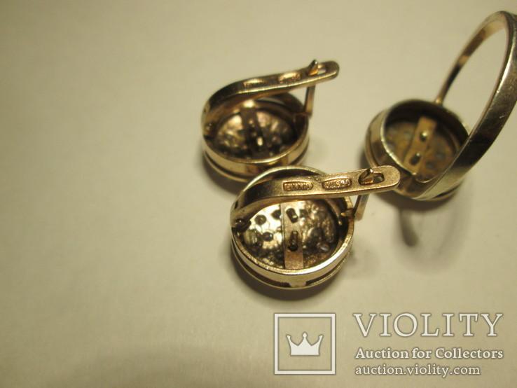 Набор сережки и кольцо 925 пробы с фианитами, фото №4