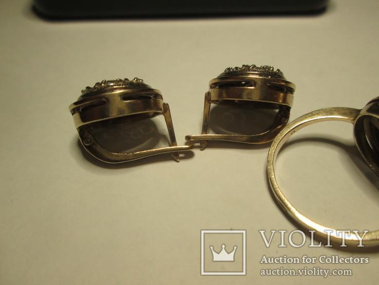 Набор сережки и кольцо 925 пробы с фианитами, фото №5