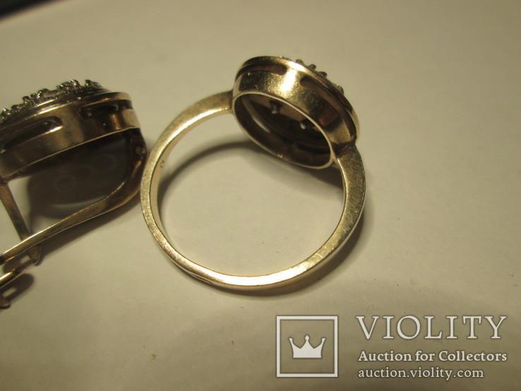 Набор сережки и кольцо 925 пробы с фианитами, фото №6