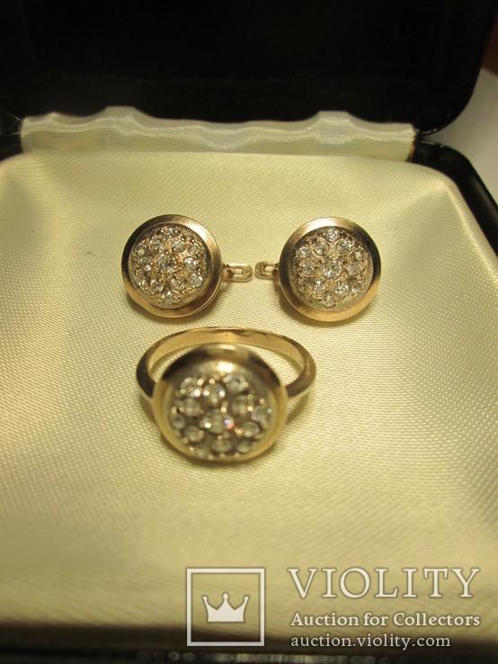 Набор сережки и кольцо 925 пробы с фианитами, фото №7