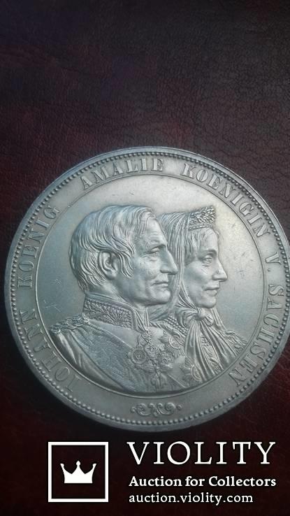 2 талера 1872 р. Саксонія. Золоте весілля короля Йоганна та Амалії., фото №3