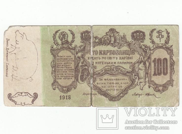 100 карбованцев 1918 года. Агитационная бона. Законченная, в цвете, фото №3