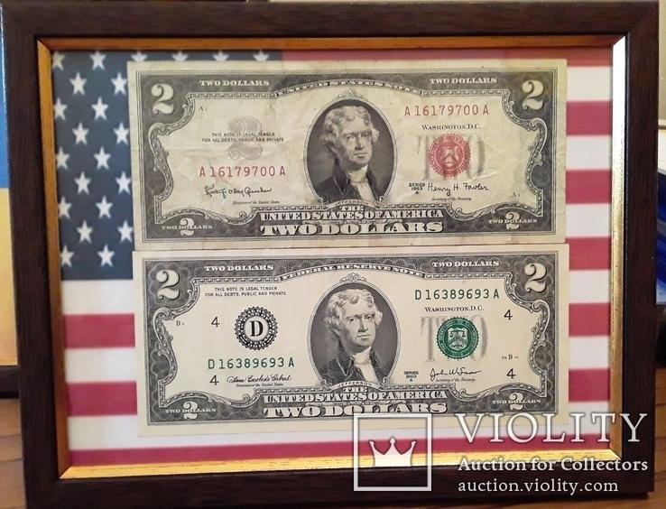 2 доллара 1963 года 2003 года в рамке