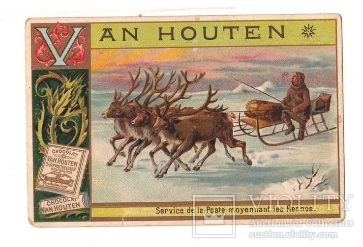 Вкладыш какао Van Houten ,почта, олени, упряжка