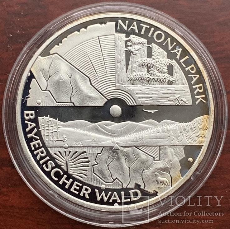 10 евро 2005 Германия, Национальный парк Баварский лес, серебро. Пруф., фото №2