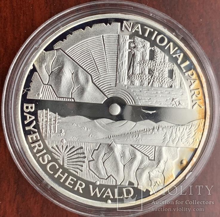 10 евро 2005 Германия, Национальный парк Баварский лес, серебро. Пруф., фото №3