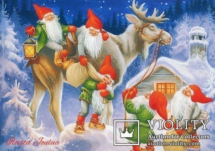 Набор открыток зимние Новый год гномы красные шапочки и колпаки, фото №6