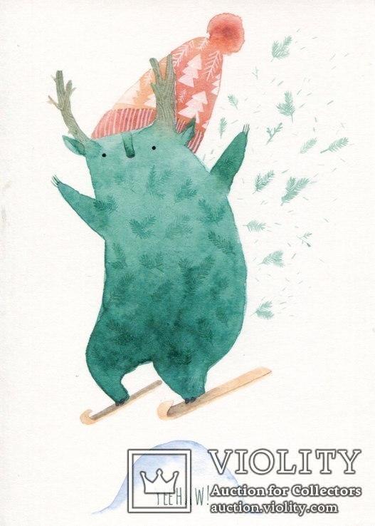 Набор открыток зимние Новый год гномы красные шапочки и колпаки, фото №9