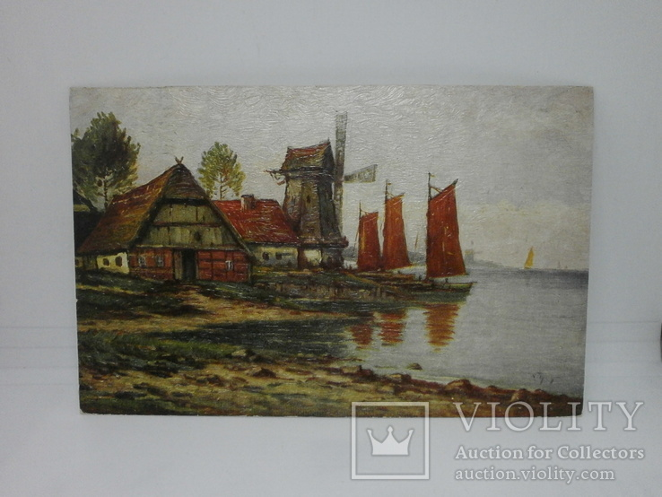 Открытка Мельница. Озеро. Лодки