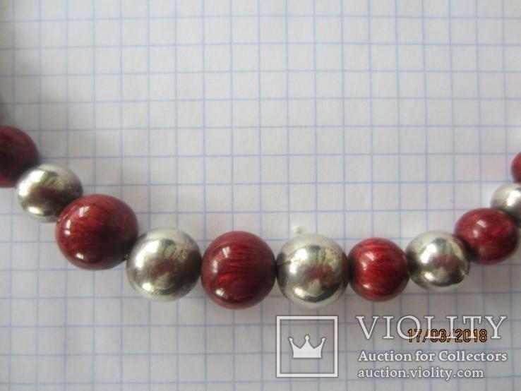 Бусы серебро 925 эмаль (Китайский лак), фото №4