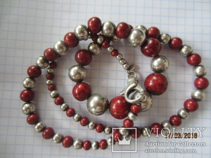 Бусы серебро 925 эмаль (Китайский лак), фото №12