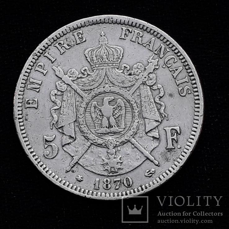 5 франков, Франция, 1870 год, A, серебро 900-й пробы, 25 грамм
