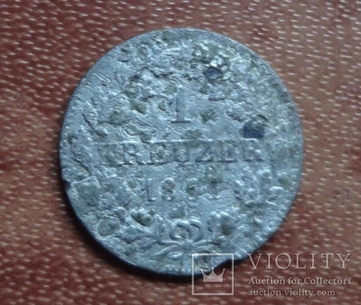 1 крейцер 1851 Бавария  серебро     (М.1.3)~, фото №2