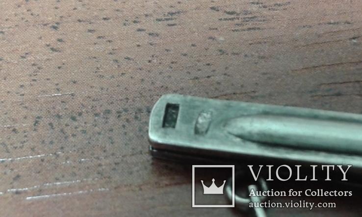 Зажим для галстука СССР серебро 875 проба горный хрусталь., фото №6