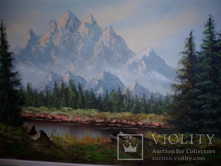 Картина горный пейзаж с озером, Швейцария 1970х