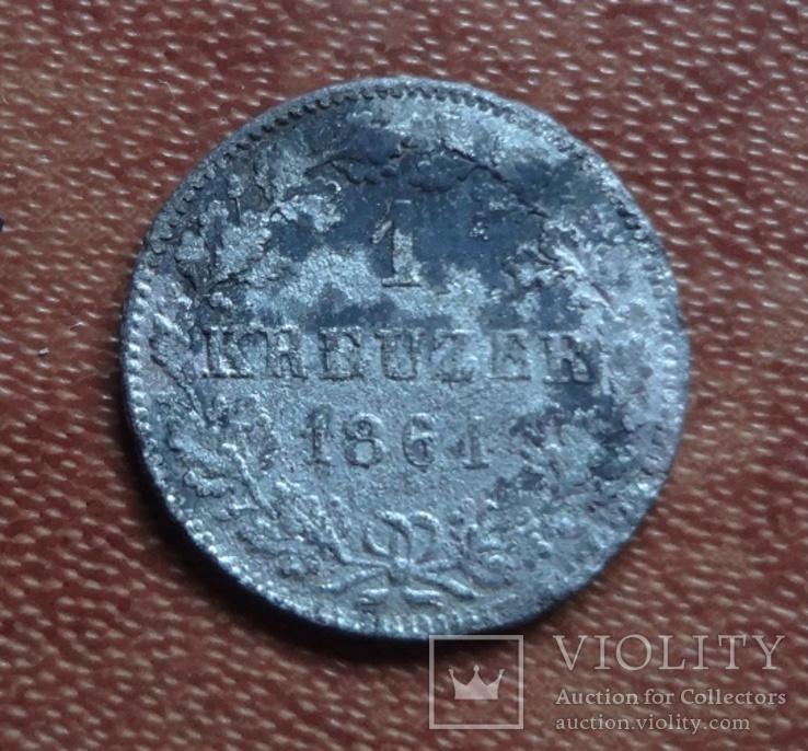 1 крейцер 1861   Бавария  серебро   (М.2.32)~, фото №3