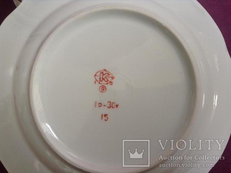 Тарелки закусочные Нежность.  Фарфор, позолота. Коростень., фото №6