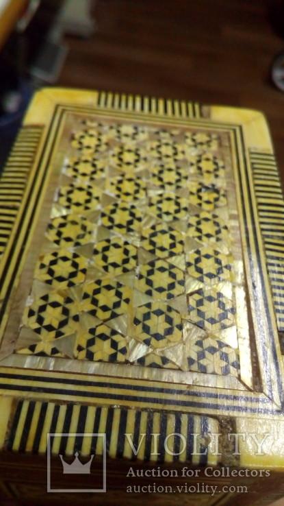 Шкатулка инкрустированная костью и латунью,Иран 60-е гг., фото №4